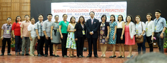 Dr Raymond Cheng with the CLSU College of Business Administration 					and Accountancy (CBAA) faculty members