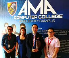 Dr Raymond Cheng with Mr Jonilo Mababa (right), Dean of the AMA Computer College in Angeles City, and Mr Art Cayabyab (1st left), and Ms Irene Macapagal, Head of Research Support of Wyith Institute
