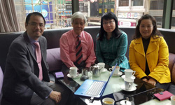 Dr Raymond Cheng meets with Professor Dr Mak Chai 					and Dr Sheila Cheng from Asia e University, Malaysia